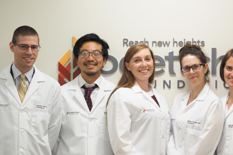 CU's 2018 Boettcher Investigators, from left, David H. Root, Edward Chuong, Kathleen M. Gavin, Eszter K. Vladar, Jean M. Mulcahy Levy and Matthew Taliaferro.