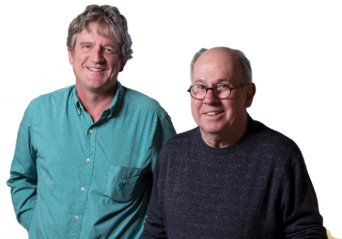 Ted Randolph (left) and Bob Garcea blend their expertise in virology and chemical engineering, creating low-cost, heat-stable vaccines.