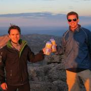 PHYSICIAN-SCIENTISTS AND COMPETITIVE RUNNERS JOSH WHEELER, LEFT, AND THOMAS VOGLER ON THE SUMMIT OF LONG'S PEAK IN COLORADO.
