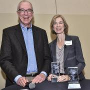 Nobel Laureate Tom Cech, left, with Jennifer Doudna at the Butcher Symposium on the CU Boulder campus in 2015.