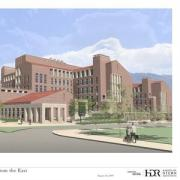 The Jennie Smoly Caruthers Biotechnology Building, artist's rendering of the view along Colorado Avenue from the east.