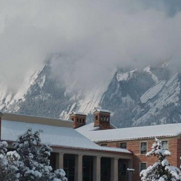 CU Boulder campus in the winter