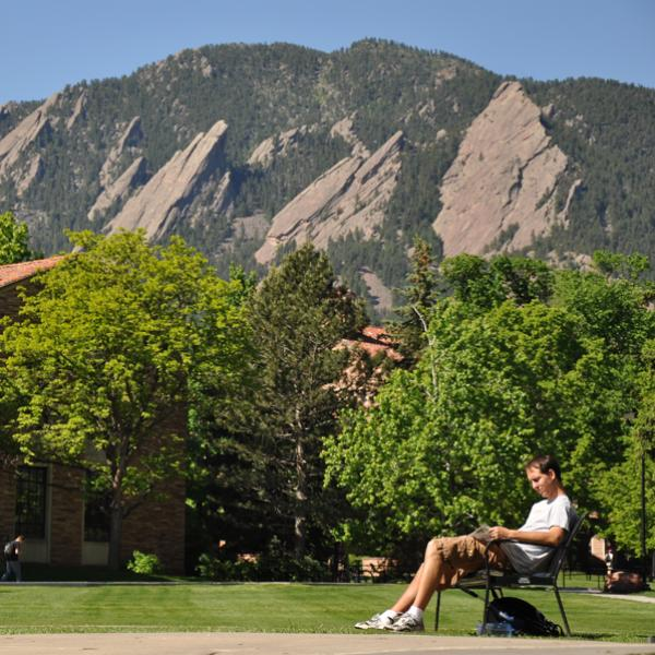 CU Boulder campus in the spring