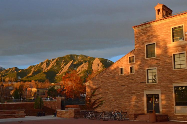 Campus in Fall with view of Flatirons