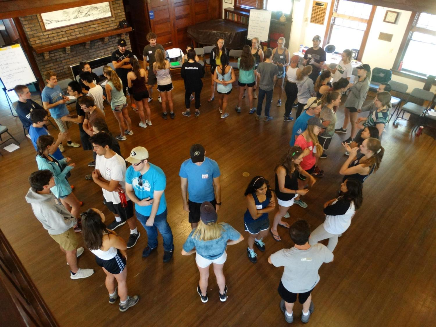 students welcome activity at retreat