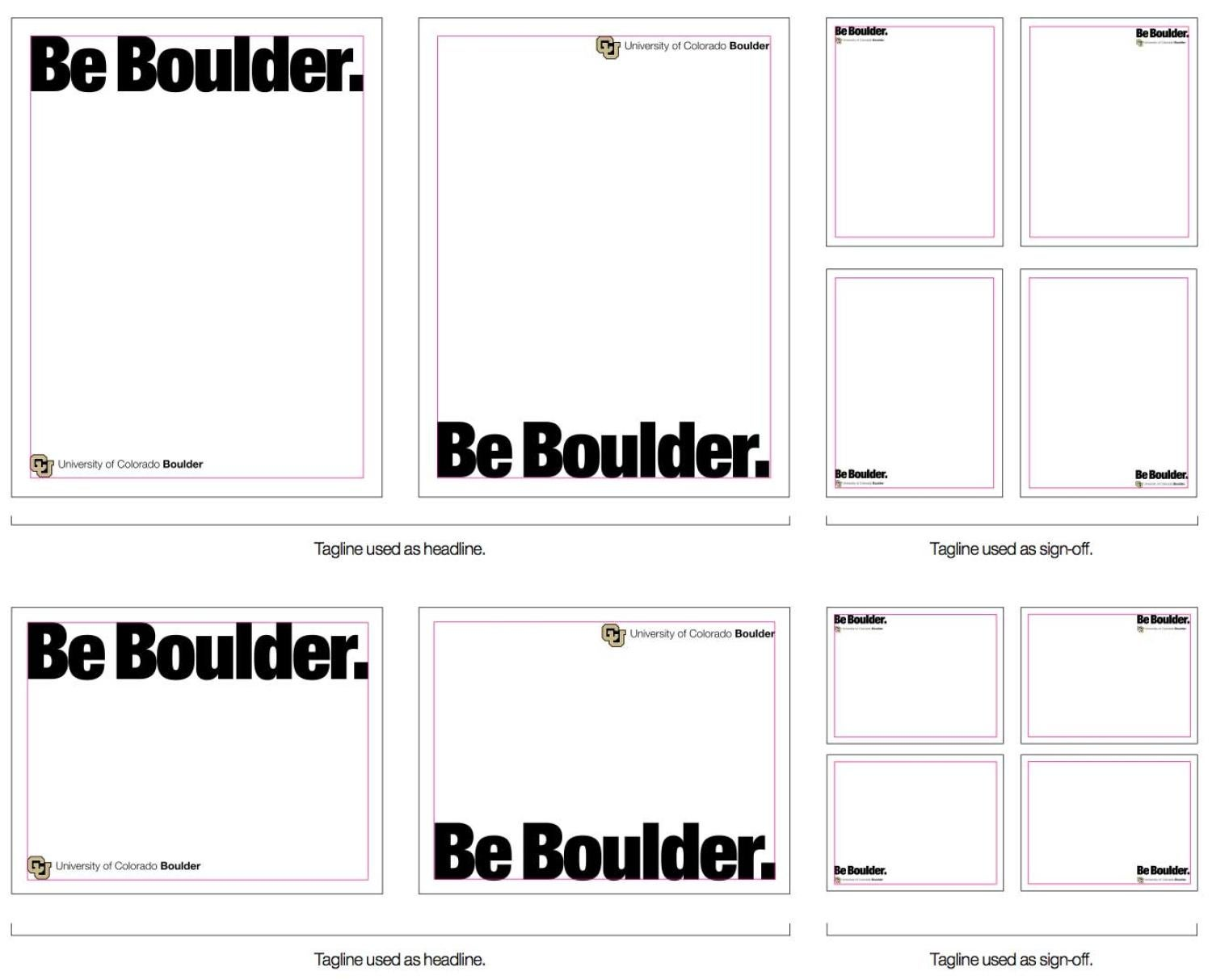 Examples of Be Boulder print layouts