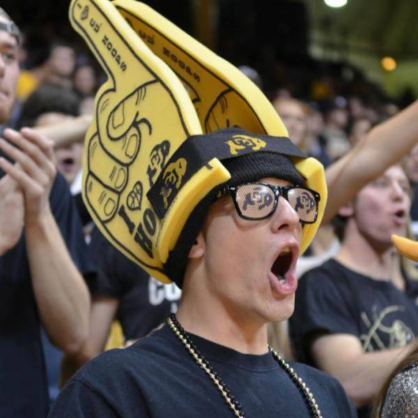A CU-nit fan at a basketball game. Look for the unusual for spirit at athletic events.