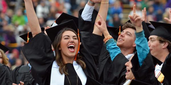2016 graduates celebrating during commencement