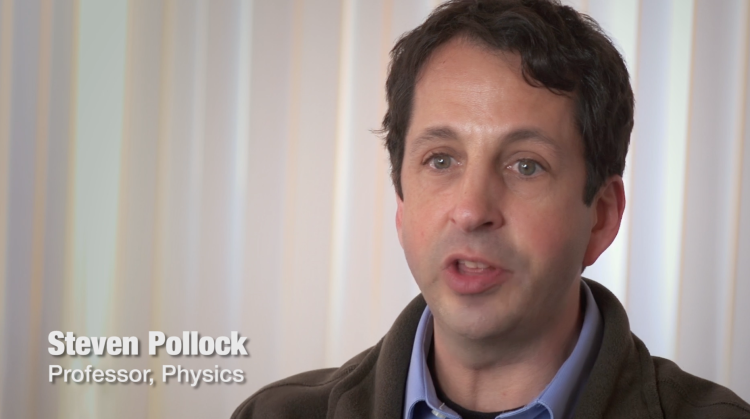 Video branding example of titling. The film's still shot shows Steven Pollock, with his name and title in the bottom left corner. Steven Pollock, Professor, Physics.