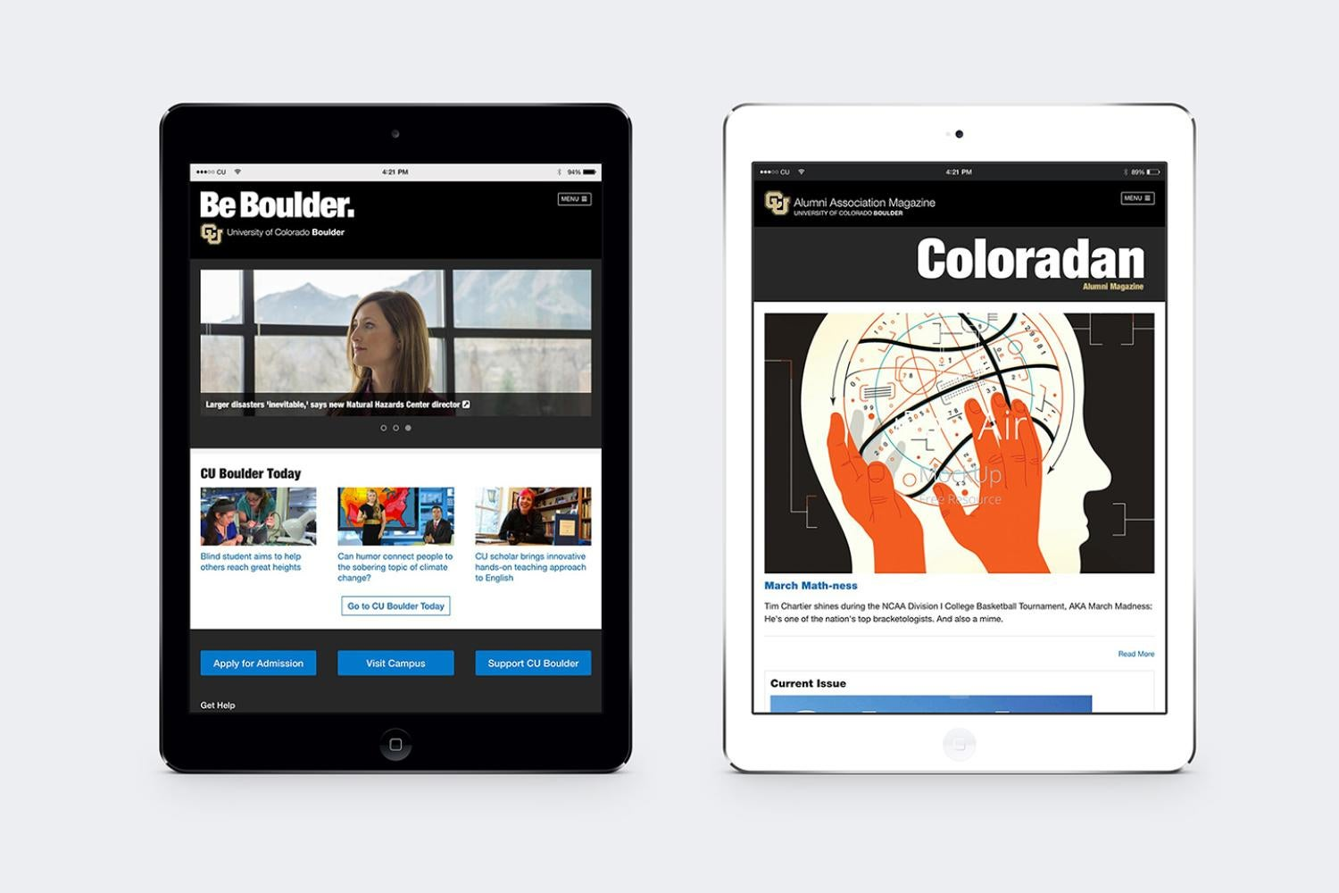 iPad with CU Boulder branding