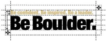 Be Boulder. branding spacing around