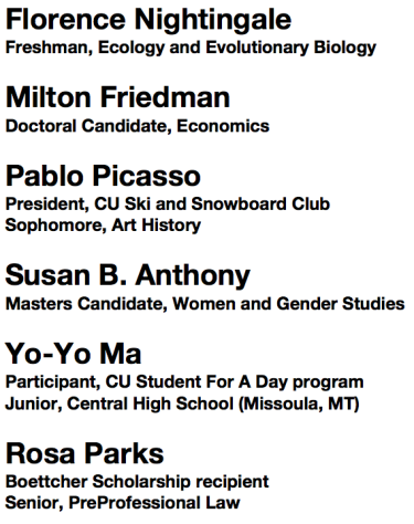 1. Florence Nightingale, Freshman, Ecology and Evolutionary Biology; 2. Milton Friedman, Doctoral Candidate, Economics; 3. Pablo Picasso, President, CU Ski and Snowboard Club, Sophomore, Art History; 4. Susan B. Anthony, Masters Candidate, Women and Gender Studies; 5. Yo-Yo Ma, Participant, CU Student For A Day program, Junior, Central High School (Missoula, MT); 6. Rosa Parks, Botcher Scholarship recipient, Senior, PreProfessional Law