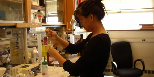 Student working at a lab bench