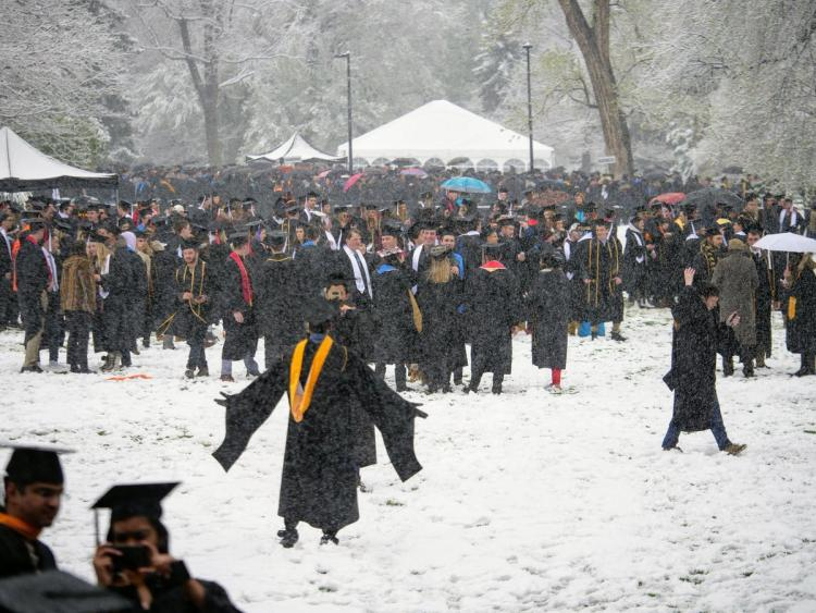 CU spring 2019 graduation in the snow