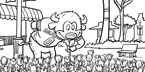 Chip sniffing tulips coloring page
