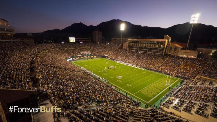 Folsom Field at night