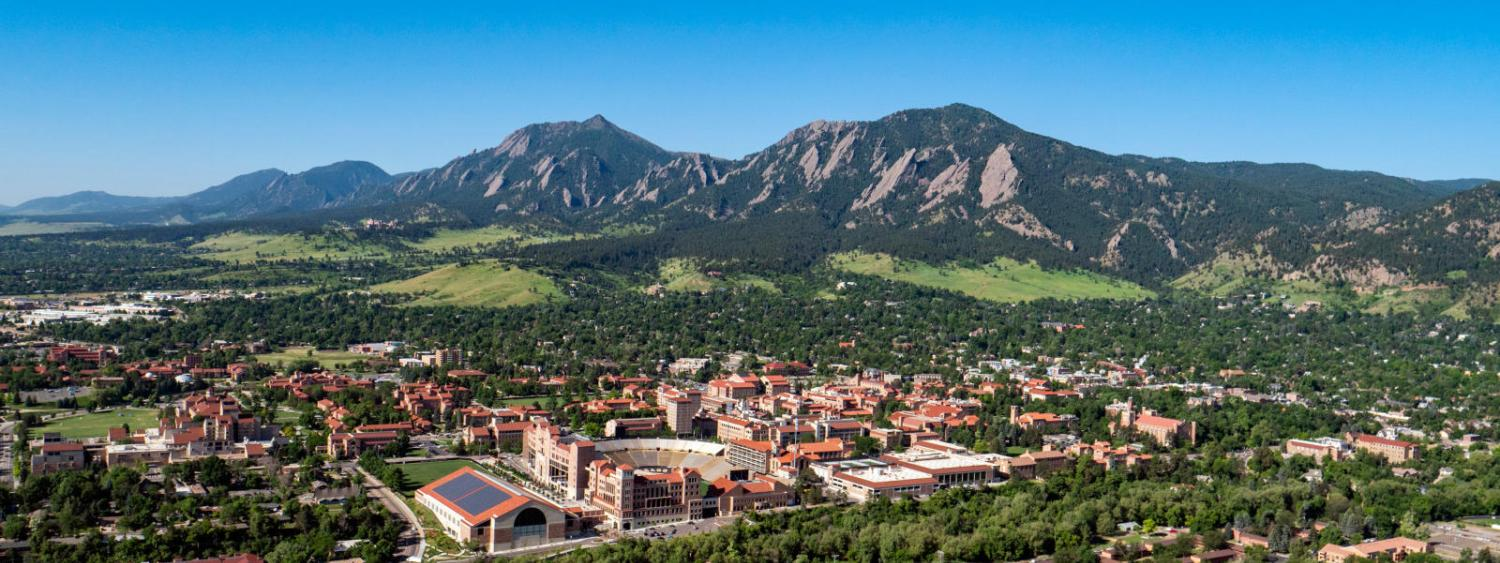 aerial view of cu boulder campus and flatirons