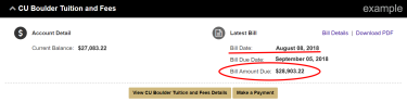 Example of a student account showing the outdated bill amount due because the student made changes to the account.