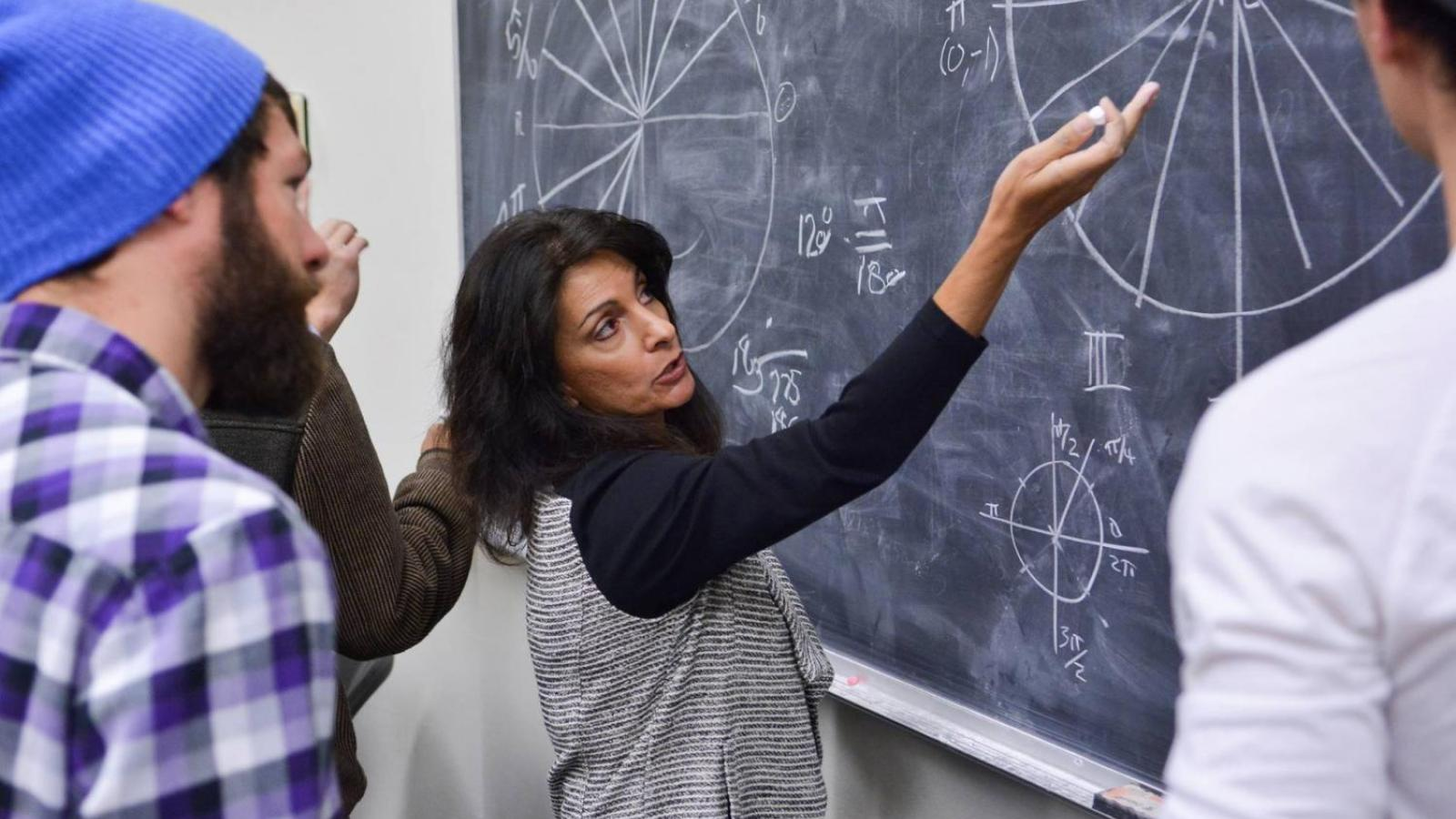 A female professor instructs students at the board.