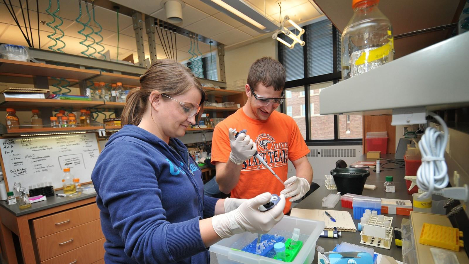 Two students test samples in a lab.