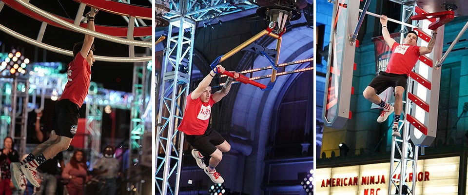 Three photos of Nate Hansen completing obstacles on 'American Ninja Warrior.'