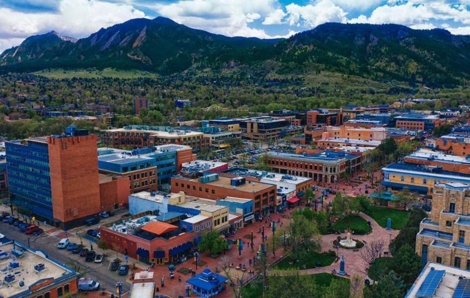 Areal view of Boulder's downtown Pearl Street Mall