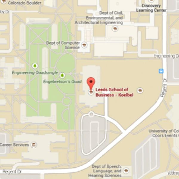 Map for the Leeds School of Business at CU-Boulder