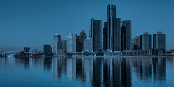 Detroit skyline in blue tones to emulate the Net Impact Conference look and feel