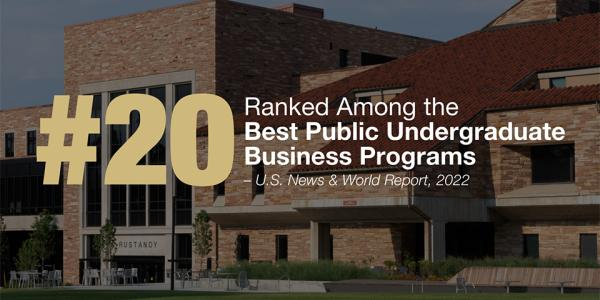 A photo of the CU Boulder campus. U.S. News ranked Leeds No. 20 among the best public business programs in the U.S.