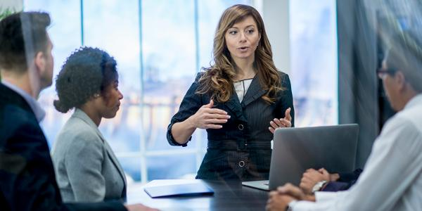 Woman speaking to a group