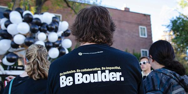Business school alumni attend an event at the CU Boulder campus
