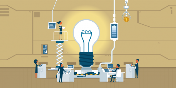 graphic of workers around lightbulb