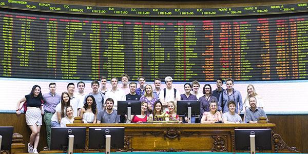 Global Business students visiting a south american stock exchange