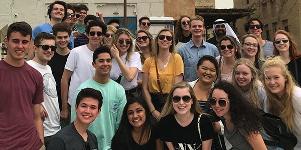 Leeds Honors About Us section and image of honors students