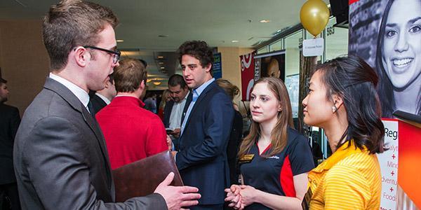 Leeds Student at a career fair with alumni