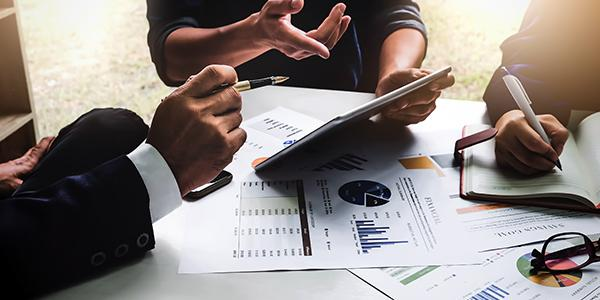 Papers with charts and tables to promote marketing