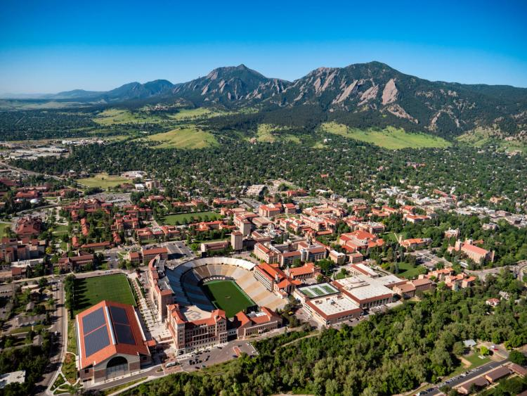 cu boulder aerial view with mountains
