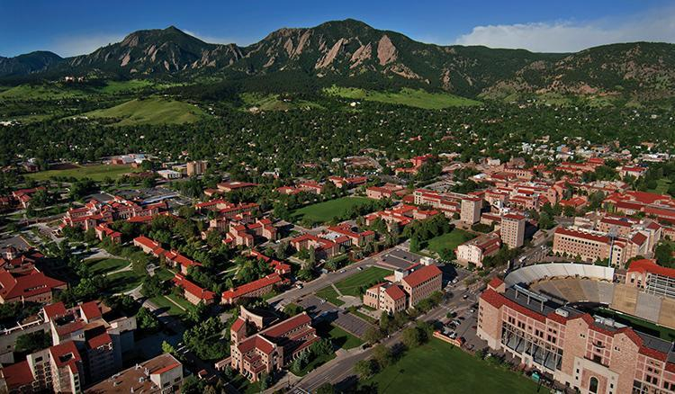 ariel view of CU Boulder campus