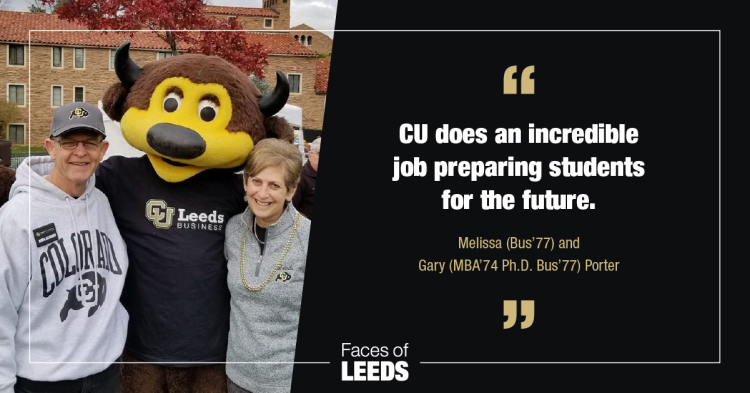 Doug, left, and Melissa Porter, right, stand alongside mascot Chip at the University of Colorado Boulder campus.