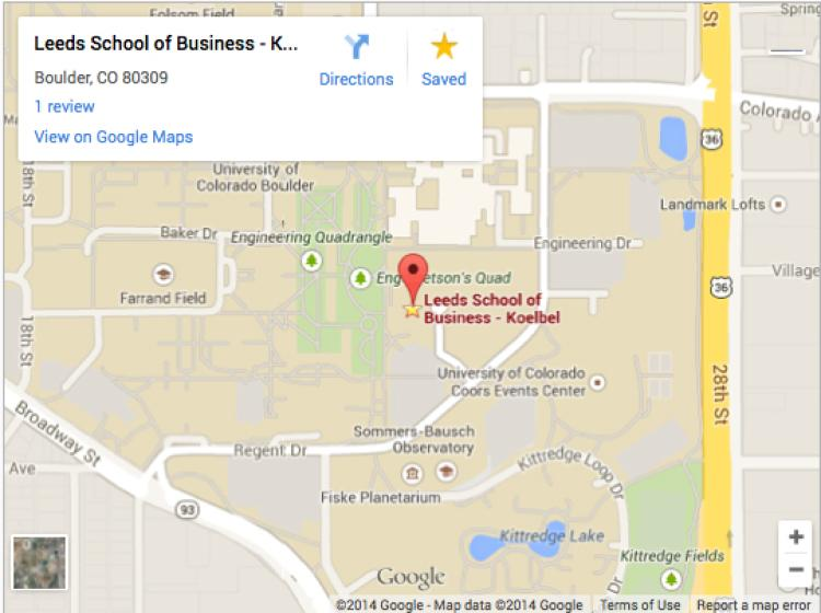 Map & Directions | Leeds School of Business | University of Colorado ...