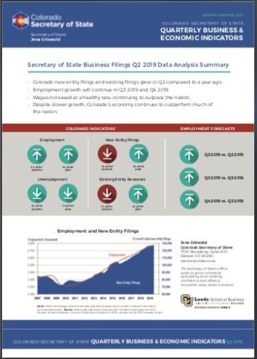 Colorado Secretary of State Q2 2019 Indicators Report