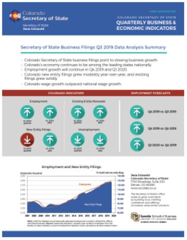 Colorado Secretary of State Q3 2019 Indicators Report