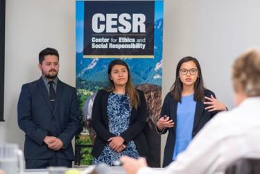 SRE students presenting to industry leaders