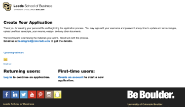 Application portal for Evening MBAs