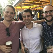 George Cherry, MBA '19, Chris Gronseth, MBA '19, and Carlos E. Peña, MBA '19 enjoying the evening