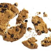 A chocolate chip cookie broken into many pieces against a white backdrop.