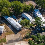 Damaged buildings related to Emily Gallagher's research on Hurrican Harvey