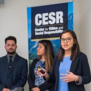 Student presenting at the 2018 Business Ethics Case Competition