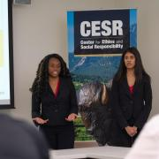 Business Ethics Case Competition team presenting in person