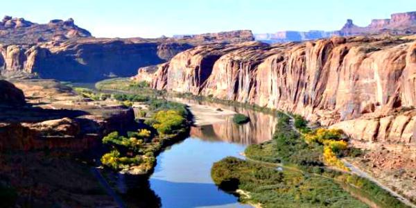 colorado river flowing through a canyon